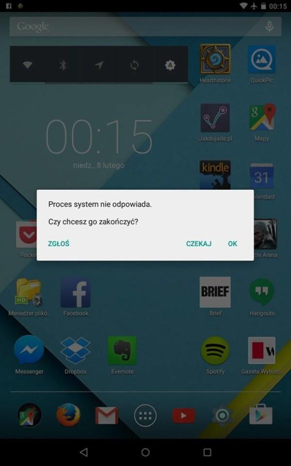 Android 5.0 bład